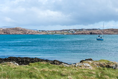 Looking Back To Fionnphort From Iona (www.bazpics.com) Tags: ocean blue sea green water ferry landscape island scotland boat scenery aqua day ship village cloudy scottish sail iona mull isle fionnphort barryoneilphotography