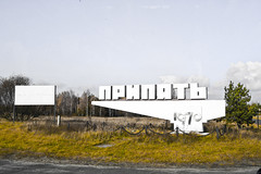 Welcome to Pripyat (MoraTilTordis) Tags: sign radiation ukraine disaster second chernobyl pripyat    pripyat1970