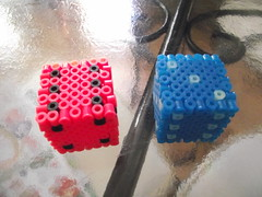 Dice (SoggyEnderman) Tags: pink blue dice geek gaming perler d6 perlers geekcraft
