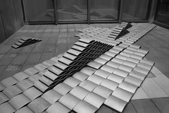 a tile pile (troutfactory) Tags: blackandwhite bw sculpture art monochrome japan museum digital ceramic kobe tiles  kansai arrangement hyogoprefecturalmuseumofart   rooftiles  goemetry ricohgrd2