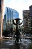"""Bentall Tower II fountain: """"The Pioneers"""" (gerry.bates) Tags: city windows urban sculpture canada fountain glass architecture vancouver canon buildings reflections design downtown skyscrapers britishcolumbia steel entrance structures highrises burrardstreet bentallcentre officetowers thepioneers bentalltowers georgetsutakawa towerii businesstowers"""
