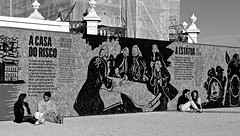 Two couples talking (pedrosimoes7) Tags: street blackandwhite streetart portugal blackwhite lisboa lisbon creative streetlife creativecommons talking blackdiamond streetshot streetimages lisboanarua portuguesepeople blackwhitephotos blackandwhiteonly streetpassionaward terreirodopaco