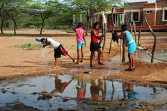 Wayuu villagers in Pessuapa, Colombia, make use of their local, ever-diminishing watering hole. Over the past years climate change has forced water shortages, particularly severe in the indigenous Wayuuís arid territory in northeast Colombia.