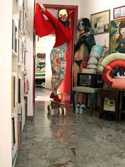 Surfing bird (g.vryttia) Tags: red sculpture art girl painting wings mask flight superhero cardigan leggings antihero