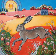 Hare Today Gone Tomorrow (Kimberly Naumann) Tags: flowers portrait house rabbit bunny art painting landscape countryside artwork hare folkart outsiderart contemporaryart cottage canadian acrylicpainting whimsical canadianart folkartist wildrabbit canadianfolkart contemporaryfolkart earlyamericanarchitecture