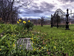 Remember (Explored) (Wes Iversen) Tags: flowers nature illinois thegrove cemetaries fences tombstones hdr odc glenview hff tokina1116mmf28 fencefriday ourdailychallenge