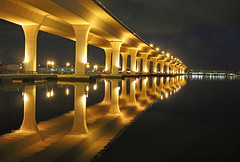 Roosevelt Reflection (tclaud2002) Tags: bridge reflection water st night river downtown florida calm stuart roosevelt reflect rooseveltbridge calmwater lucieriver