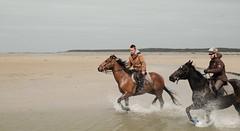 Cavaliers au galop en Baie de Somme (Dominique Levesque) Tags: sea mer outdoor horizon sable outlook riders lamanche cavaliers baiedesomme