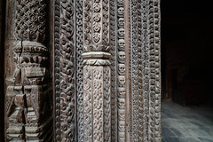 Intricate figures carved on the façade of The Basantapur Tower