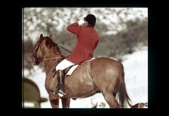 ss equest-148 (ndpa / s. lundeen, archivist) Tags: horses horse color film hat colorado boots nick slide rockymountains slideshow 1970s aspen 1977 rider equestrian horseback foxhunt hunt bugle redjacket dewolf woodycreek bugler equestrians jodhpurs nickdewolf roaringforkvalley photographbynickdewolf woodycreekhounds