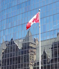 Old City Hall in Reflection (jmaxtours) Tags: toronto ontario canada reflection cityhall flag canadian mapleleaf flagpole canadianflag torontoontario oldcityhall torontoon