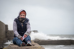 Auchmithie (B Hutchison) Tags: xt1 scotland beach auchmithie stones waves wind weather cold cliffs wall seawallsitting