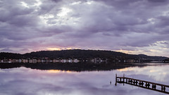 Cloudy sunrise and reflections on the bay (Merrillie) Tags: daybreak woywoy sunrise nature australia reflections nswcentralcoast newsouthwales nsw centralcoastnsw water wharf landscape outdoors waterscape blackwall centralcoast dawn mountain clouds