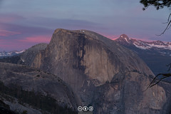 Dusk on Half Dome (au_ears) Tags: alpenglow california bluehour yosemite twilight water splitcolor halfdome yosemitevalley 2016 mtclark northdome snow