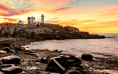 Fire in the Sky (Simmie | Reagor - Simmulated.com) Tags: capeneddick connecticutphotographer landscapephotographer lighthouse maine naturephotographer newengland nubblelighthouse nubblepoint photographicart september sunrise unitedstates digital york us