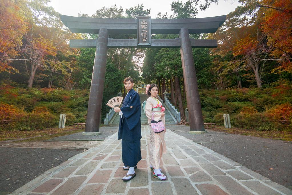 日本北海道婚紗,函館婚紗,和服婚紗,神社婚紗,八幡宮婚紗,楓葉婚紗,海外婚紗