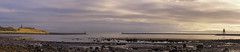 Between The Piers (whistlingtent) Tags: panorama north south shields tynemouth tyneside uk rocks tide lord collingwood monument groyne beach seaside watch house