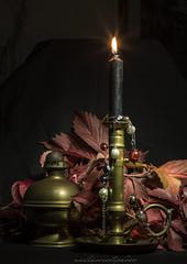 black candle (nadiaorioliphoto) Tags: sfondonero candle light stillife vintage