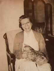 Anna & Mike (The Lone Wadi Archives) Tags: lady cat glasses lostphoto foundphoto retro 1940s pet feline