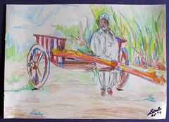 FarmerOnHisCart (Srineet) Tags: farmer cart sketch crayons pastels art rural maharashtra farm
