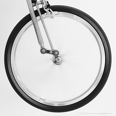 _C0A6545REWS Circular Path,  Jon Perry, 26-11-16 zaw (Jon Perry - Enlightenshade) Tags: blackandwhite bw jonperry enlightenshade arranginglightcom 261116 20161126 bicycle spin spinning wheel moulton suspended