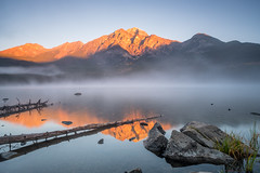 Pyramid Mountain, Canada (Sunny Herzinger) Tags: sunrise travel fog nationalpark reflection fujixpro2 canada lake alberta jasper cakanada ca
