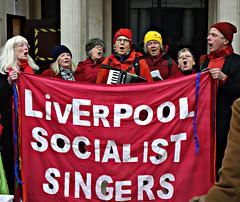 Liverpool socialist Singers in the Cunard Building, 1st Dec. 2016 (ronramstew) Tags: liverpool merseyside uk cunardbuilding demo demonstration nhs socialistsingers 2016 2010s