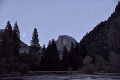 [Half Dome under Star Trail] (miltonsun) Tags: halfdome startrail riverbankofmercedriver yosemitenationalpark california yosemite nightscene longexposure dusk nightphotography westcoast evening landscape mountains clouds sky meadows autumn rocks outdoor natural river