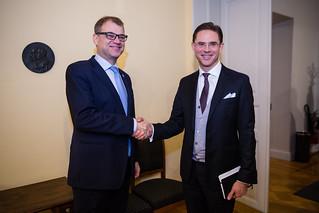 Pääministeri Juha Sipilä tapasi Euroopan komission varapuheenjohtaja Jyrki Kataisen 18.11.2016