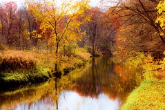 """""""Waiting 'round the bend...."""" ~ Huron River (j van cise photos) Tags: river huronriver autumn michigan water fall colors reflections riverbend trees leaves yellow red"""