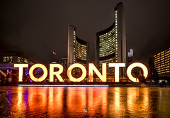 My City (Patrick.Younger.Photography) Tags: toronto reflection sign epic city hall orange colour vivd night sky patrick younger ra real reel ability light ambient nikon d800 11mm explore ontario