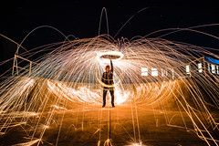 Sparks Are Flying (Evan's Life Through The Lens) Tags: camera sony a7rii lens glass 2470mm f28 canon zoom wide telephoto long exposure night light bright dark sparks steel wool fire amazing beautiful vibrant color orange yellow blue green autumn cold 2016