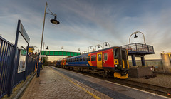 An Ultra Wide Angle Fart at Mansfield Woodhouse - 30-11-2016 (kevaruka) Tags: shirebrook mansfieldwoodhousestation mansfield nottinghamshire derbyshire whdavis class37 37716 trains train transport railway colour colours blue yellow green red bridge drs directrailservices networkrail britishrail historic classic heritage history englishelectric england autumn 2016 november canon canoneos5dmk3 canon5dmk3 canonef1635f28mk2 did uwa ultrawideangle 5d3 5diii 5d 5dmk3 outdoor telephototrains kevinfrost photography eos