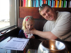 Melting Pot (parkerkrhoyt) Tags: blue face dinner lunch restaurant milk sweater melting colorado kevin father daughter paige straw strangle pot angry shake fondue mad milkshake choke hoyt littleton sip