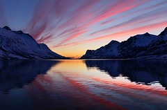 Magic from the sun, the last minute !! (John A.Hemmingsen) Tags: sunset seascape reflection nature water colors clouds landscape troms ersfjordbotn nikkor1685dx nikond7000 pwpartlycloudy