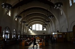 Santa Fe Depot, Downtown San Diego, Calif. (DH12) (Rob Bellinger) Tags: santa travel light shadow station businessman architecture walking wooden san waiting downtown room union diego ceiling rob traveller chandelier depot fe benches curved dignity hunt bellinger