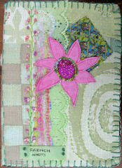 tast16 (Lins Art) Tags: flower beads embroidery frenchknots fabricjournal blanketstitch featherstitch runningstitch takeastitchtuesday digitallyprintedfabric transferprintedlace tast16