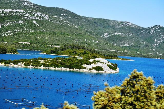 Croacia. Cultivos acuicolas cerca de MALI Ston