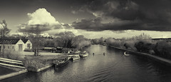 Isis (SASHA TURPIN) Tags: uk england bw panorama monochrome thames clouds river boats oxford 5d serene ripples isis rowers 24105mm