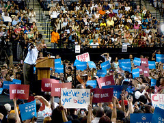 Barack Obama (James B Currie) Tags: people election politics rally crowd richmond vcu democratic forward 2012 barackobama firedup wevegotyourback notback obamarallyvcu