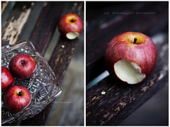 Snow White (| Les Hirondelles |) Tags: wood autumn red italy food apple water glass fruit canon vintage gar