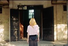 everybody's staring (vse.svetloe) Tags: red film girl fashion 35mm skinny back model faceless kiev19
