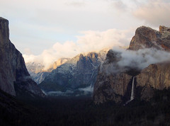 The only direct sunlight left at Tunnel View is on Half Dome's face below the hidden tip of its definitive cap. 7:36 pm. S95 #4590 (andrys1) Tags: sunset landscape halfdome yosemitenationalpark cathedralrocks tunnelview bridalveilfall clearingstorm stormclearing maysnowstorm