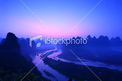 Sunrise of Lijiang River (MPBHAIBO) Tags: china morning cloud moon mist mountain reflection water colors beautiful fog sunrise river landscape dawn liriver asia dusk guilin yangshuo hill  relaxation cloudscape stormcloud cumulonimbus    xingping colorimage ruralscene beautyinnature  karstformation guangxiregion