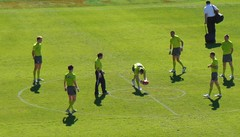 The Men in Green (mikecogh) Tags: ball football group practice olympicpark afl bouncing umpires skodastadium