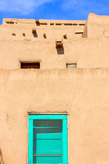 Turquoise Entry (Michael Deleon Photo) Tags: newmexico architecture buildings doors unitedstates historic nativeamerican adobe taos taospueblo