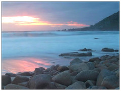 Gwenver Sunset (Tractorboy1981) Tags: light sunset sea beach sand rocks long exposure cornwall waves colours dusk cove low vivid end lands cornish sennen gwenver