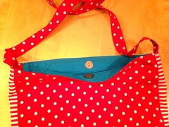Red Telephone, Stripe and Polka Dot Tote with Magnetic closure (Chickpeap) Tags: red white bag book linen turquoise library telephone stripe polka dot retro spots cotton strap tote magnetic closure uploaded:by=flickrmobile flickriosapp:filter=nofilter