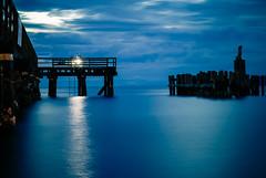 Fisherman by Night at Davis Bay (maplemusketeer) Tags: ocean longexposure blue light sea green pier fishing fisherman wharf ladder sunshinecoast davisbay pier17 explorebc explorecanada