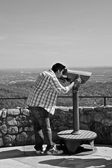 A Boy With a Telescope (mr.ncruz02) Tags: boy mountain man guy monochrome tennessee lookout telescope spy